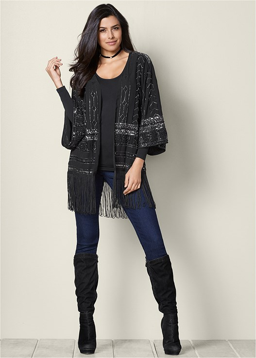 EMBELLISHED FRINGE JACKET,COLOR SKINNY JEANS,TIE BACK BOOTS