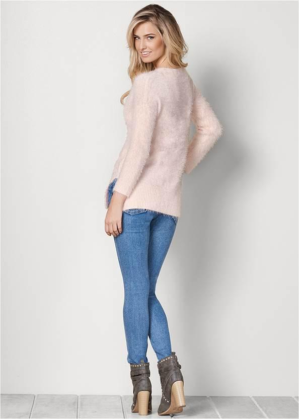 Back View V-Neck Sweater