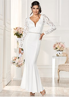 lace detail long dress