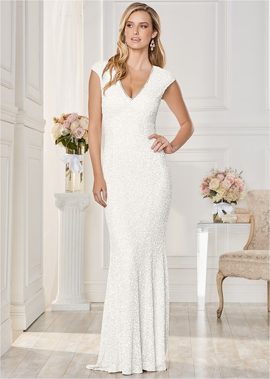 Off White Long Sequin Dress From Venus