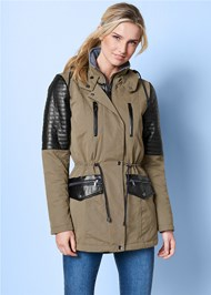 Front view Faux Leather Detail Jacket
