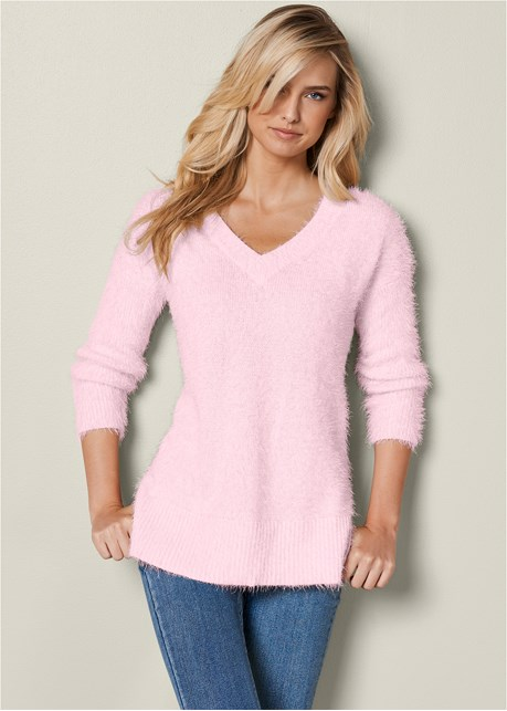 VENUS | V-Neck Sweater in Pink