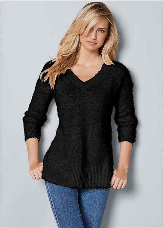 V-NECK SWEATER,COLOR SKINNY JEANS,WRAP STITCH DETAIL BOOTIE