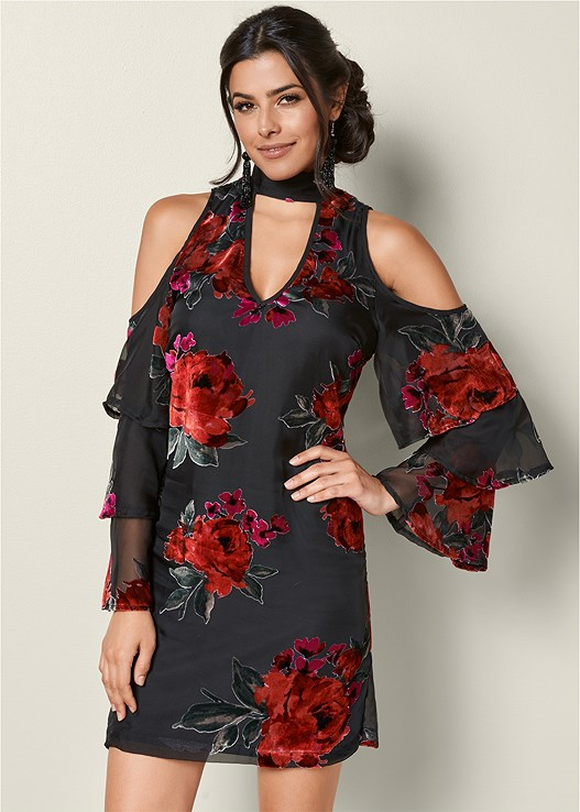 COLD SHOULDER RUFFLE DRESS,VELVET BUCKLE HEEL