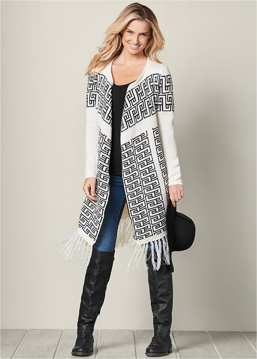 PRINTED DRAPE CARDIGAN,SEAMLESS CAMI,COLOR SKINNY JEANS,BUCKLE KNEE HIGH BOOTS,KNOT DETAIL FLOPPY HAT