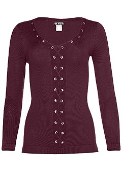lace up detail sweater