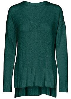 v-neck side slit sweater