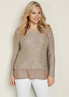 plus size sequin detail sweater