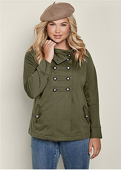 plus size high neck military jacket