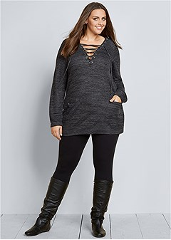 plus size lace up french terry dress
