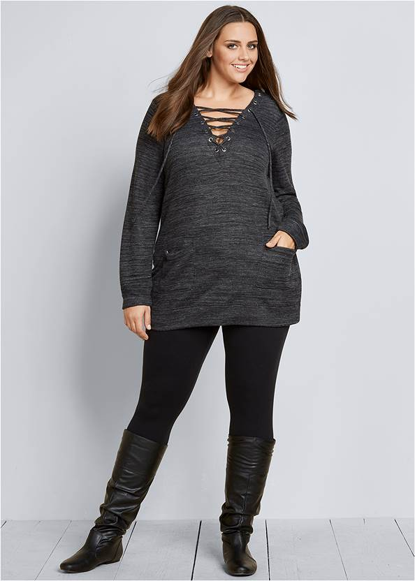 Lace Up French Terry Dress,Basic Leggings,Slouchy Mid-Calf Boots