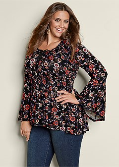 plus size lace up smocked waist top