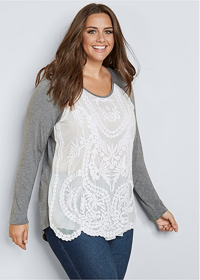 Plus Size Embroidered Layered Top