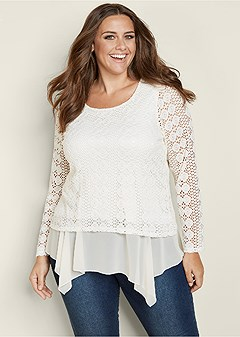 plus size crochet peekabo trim top