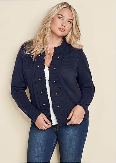 Plus Size Tab Button Detail Cardigan