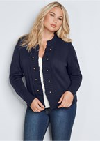 plus size tab button detail cardigan
