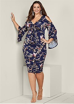 plus size floral print ruched dress
