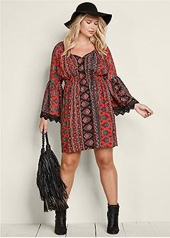 plus size boho print dress