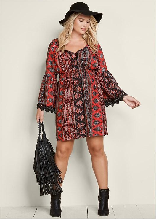 plus size boho print dress   venus