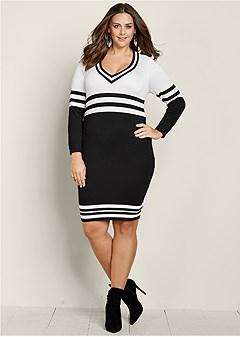 plus size v neck stripe sweater dress