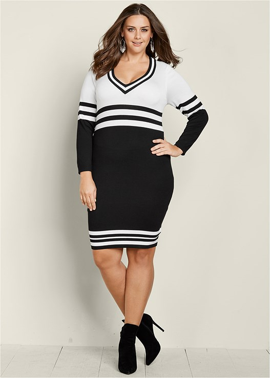 Plus Size V Neck Stripe Sweater Dress Venus