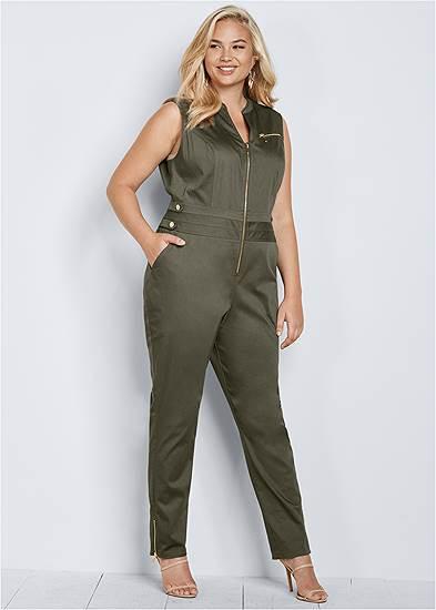 Plus Size Zip Front Jumpsuit