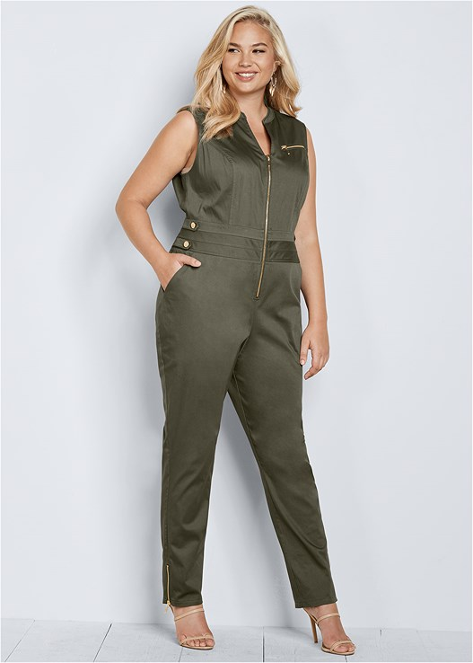 3ceda62a437 Plus Size BUTTON DETAIL JUMPSUIT in Olive