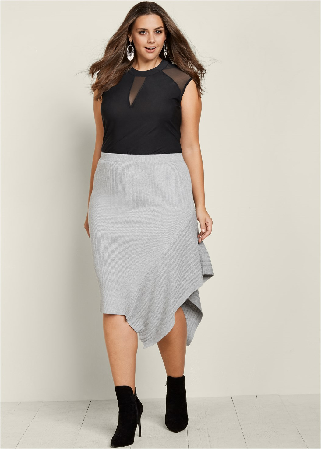 Sweater Asymmetrical Skirt,Faux Suede Pointy Booties