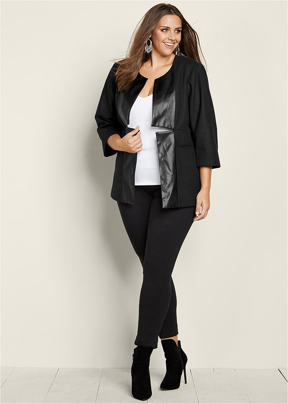 Faux Leather Trim Jacket,Mid Rise Slimming Stretch Jeggings,Faux Suede Pointy Booties