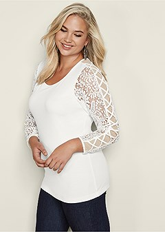plus size lace criss cross sleeve top
