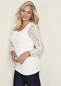 plus size lace crisscross sleeve top