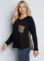 plus size printed back boat neck top