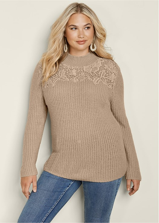 LACE MOCK NECK SWEATER,COLOR SKINNY JEANS,BUCKLE KNEE HIGH BOOTS