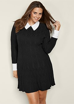plus size collar detail sweater dress