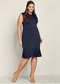 plus size embroidered flounce dress