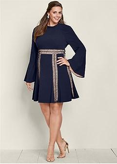 plus size mock neck a line dress