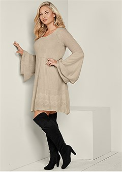 plus size boho sweater dress