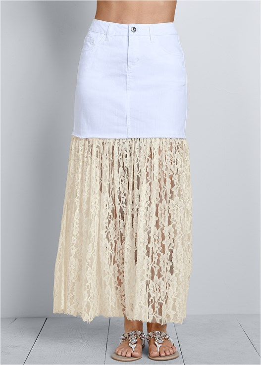 LACE DETAIL JEAN SKIRT,CAP SLEEVE BASIC TOP