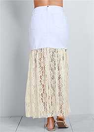 Back view Lace Detail Jean Skirt