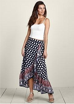 ruffle front print skirt
