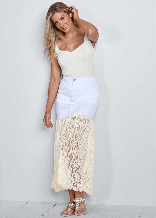Lace Detail Jean Skirt,Cap Sleeve Basic Top,Multi Color Stone Sandals
