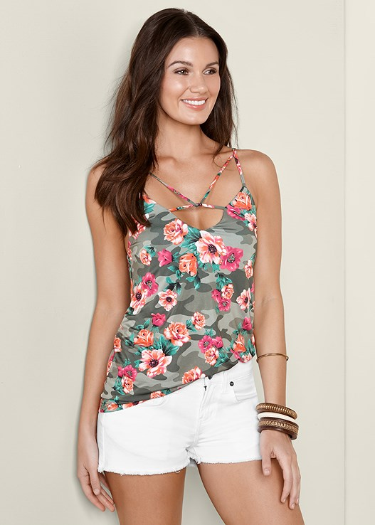 CAMOUFLAGE FLORAL TANK,CUT OFF JEAN SHORTS,LACE UP GLADIATOR SANDAL