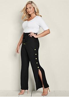 plus size button detail wide pants