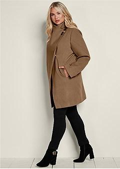 plus size asymmetrical buckle coat