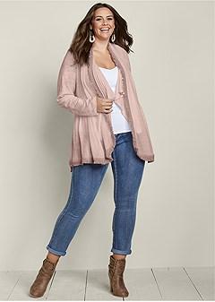 plus size layered fringe cardigan