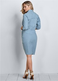 Alternate View Ruched Detail Button Down Tie Waist Shirt Dress