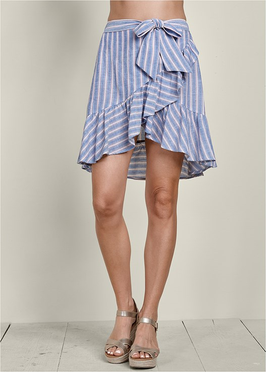 STRIPED RUFFLE MINI SKIRT,EASY HALTER TOP