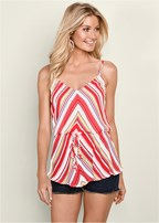 striped blouson tank top