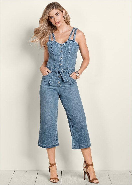 DENIM CULOTTE JUMPSUIT,EVERYDAY YOU STRAPLESS BRA,RAFFIA DETAIL HEELS,CONFIDENCE SHAPING SHORT