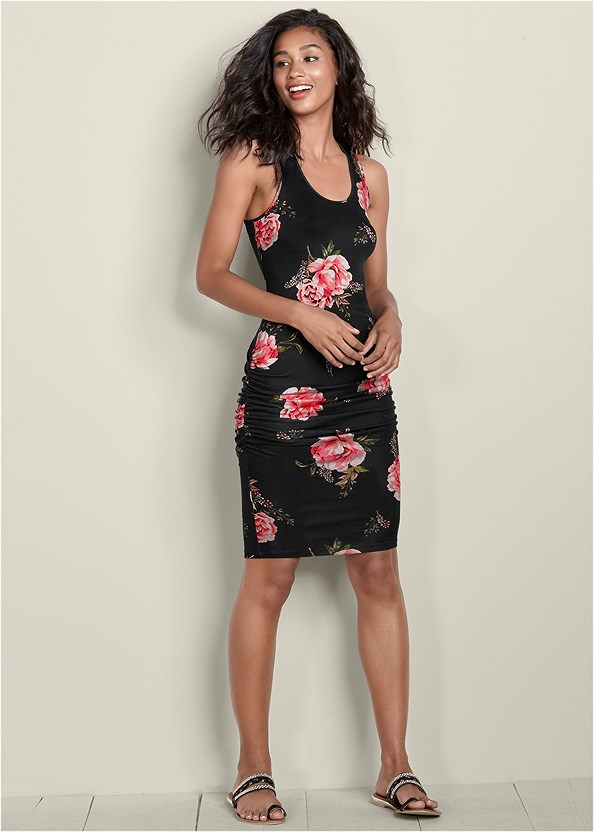Ruched Tank Dress,Lace Thong 3 For $19